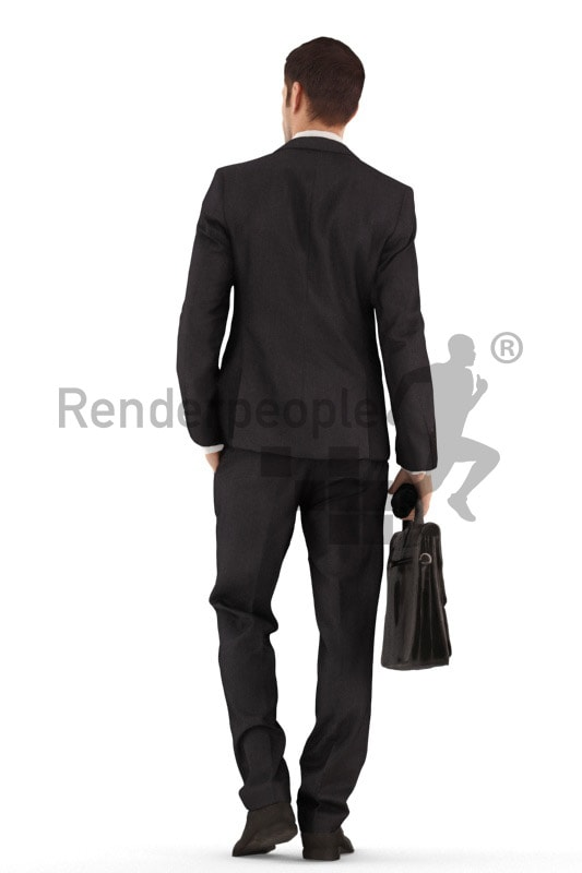 3d people business, young man walking holding a suitcase and umbrella