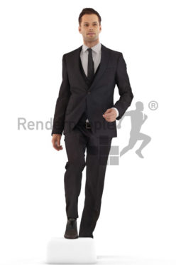 3d people business, young man climbing stairs