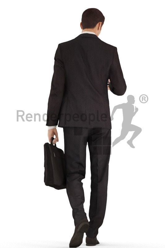 3d people business, young man walking and typing on his phone