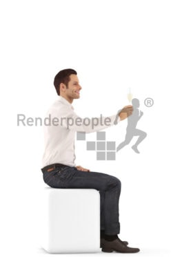 3d people event, young man sitting and holding glass