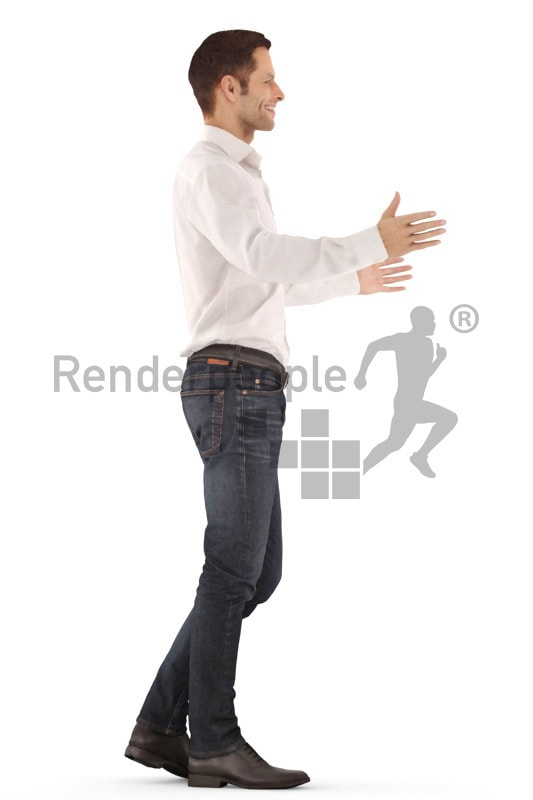 3d people event, young man standing and greeting