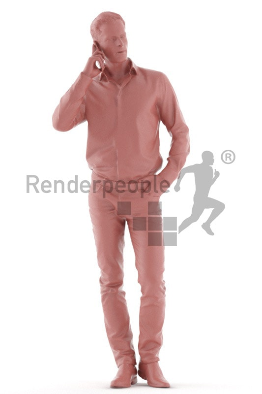 3d people event, young man walking with mobile phone