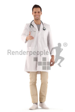 3d people hospital, young man standing and greeting