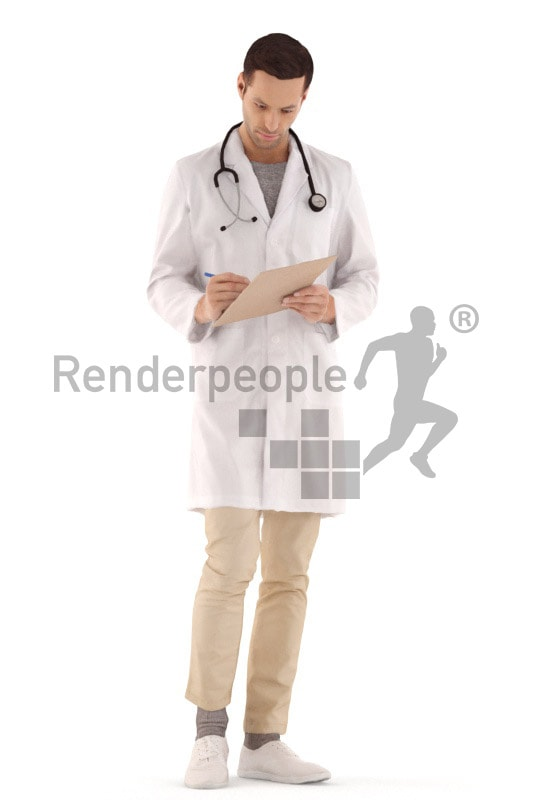 3d people hospital, young man standing and making notes on clipboard