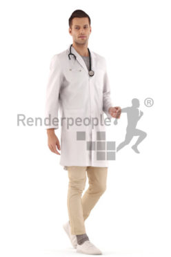 3d people hospital, young man walking