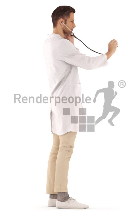 3d people hospital, young man standing hearing with his stethoskop
