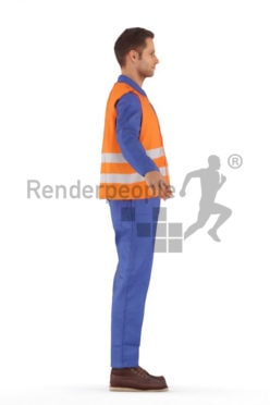 3d people construction worker, rigged young man in A Pose