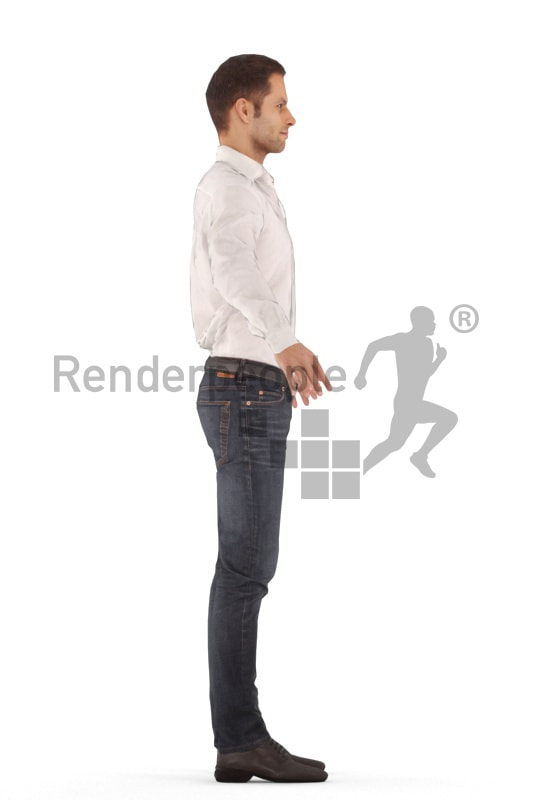 3d people event, rigged young man in A Pose