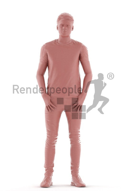 Animated 3D People model for realtime, VR and AR – standing european man, casual