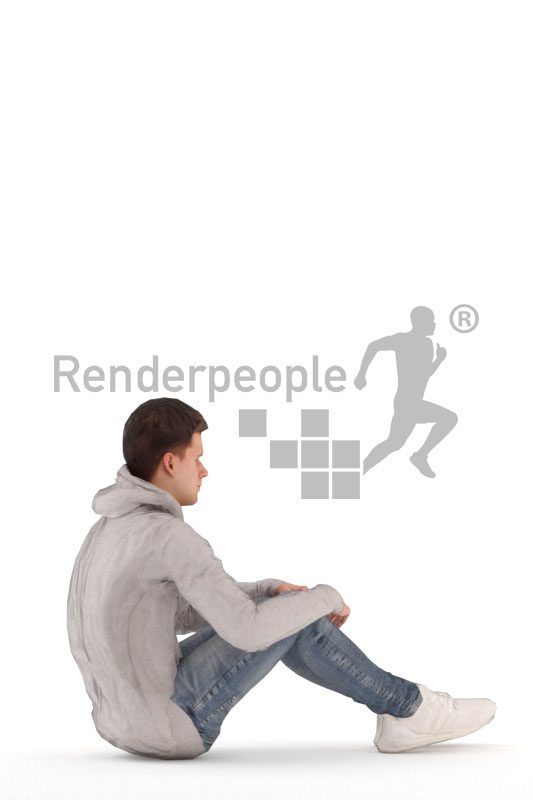 Human 3D model for animations – european man in casual street wear, sitting