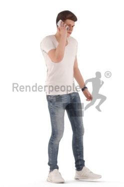 Animated 3D People model for realtime, VR and AR – white man, casual look, walking and calling