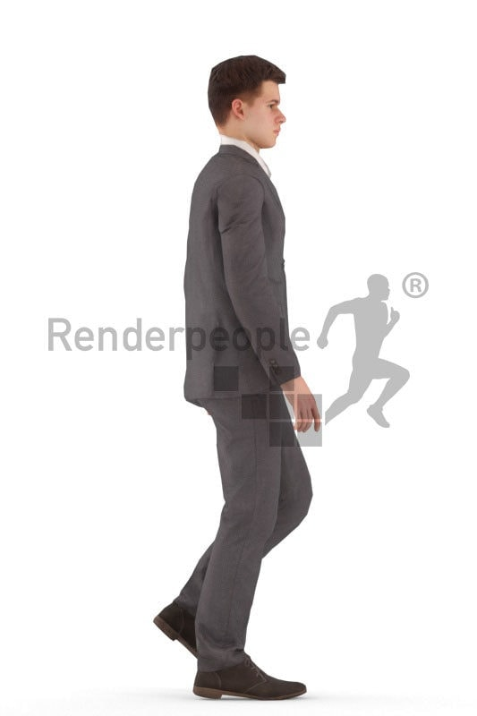 3d people business, white animated man walking