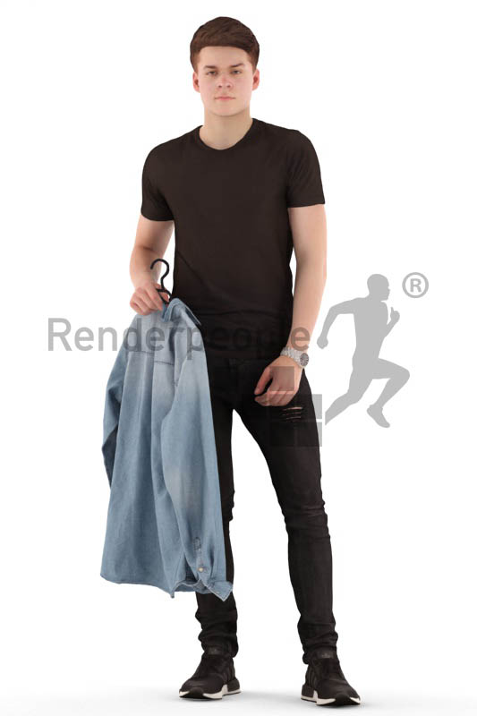 3d people teen, white 3d child standing with clothes in his hands