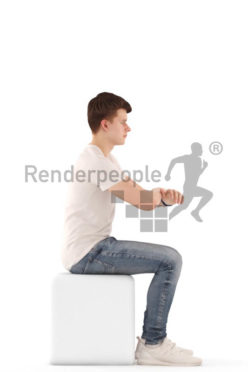 3d people teen, white 3d child sitting, leaning on the table