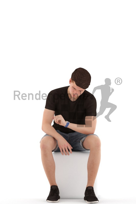 3d people teen, white 3d child sitting, looking at his watch