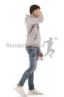 3d people teen, white 3d child walking and calling