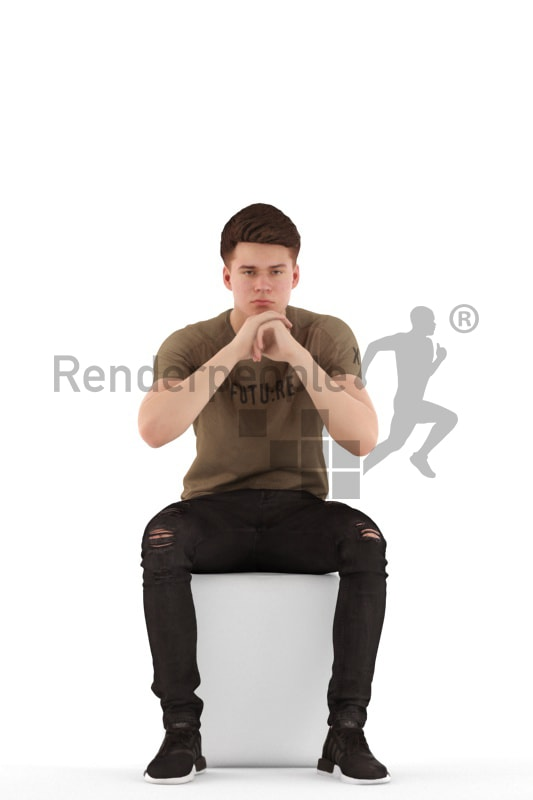 3d people teen, white 3d child sitting