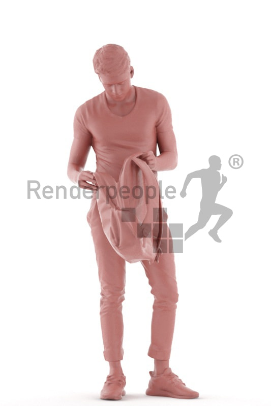 3d people teen, white 3d child standing with a bagpack