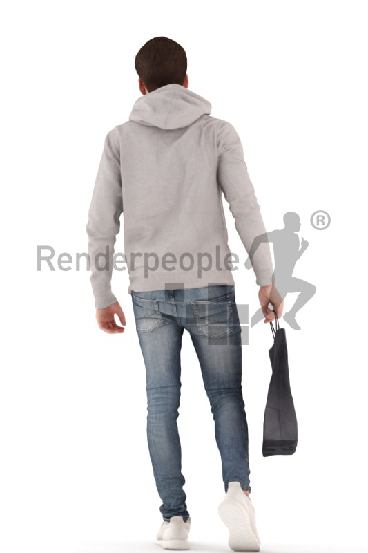 3d people teen, white 3d child walking holding a shopping bag