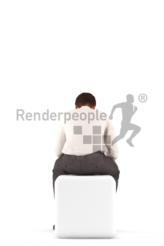 3d people teen business, white 3d child sitting, writing sms
