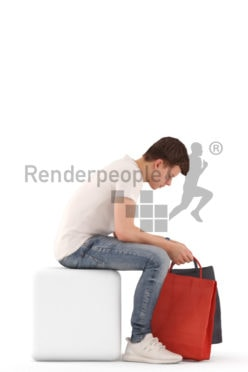 3d people teen casual, white 3d child sitting looking into his shopping bag