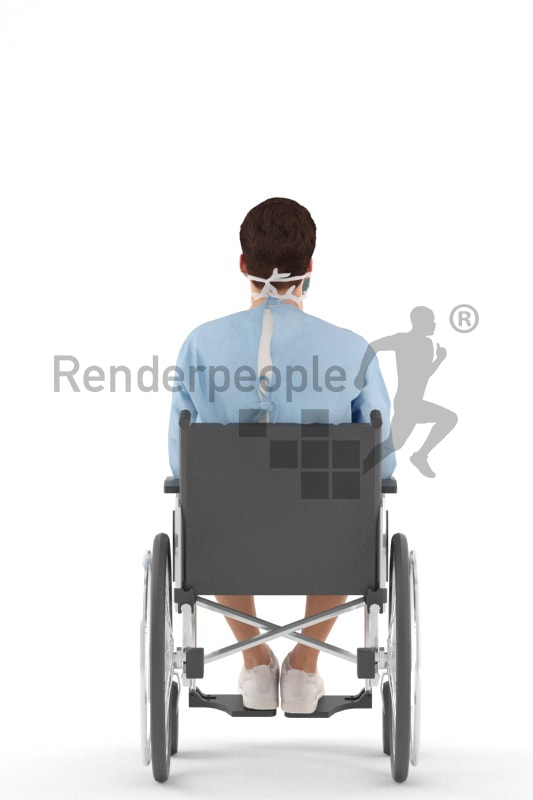 3d people teen, white 3d child sitting in a wheelchair