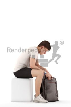 3d people teen casual, white 3d child sitting looking into his backpack