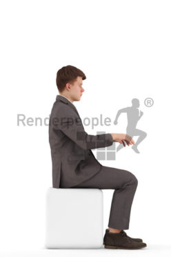 3d people teen business, white 3d child sitting, and typing