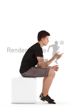 3d people teen, white 3d child sitting and pointing