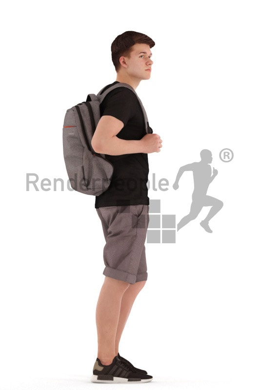 3d people teen, white 3d child standing and waiting with a bagpack