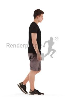 3d people teen, white 3d child walking