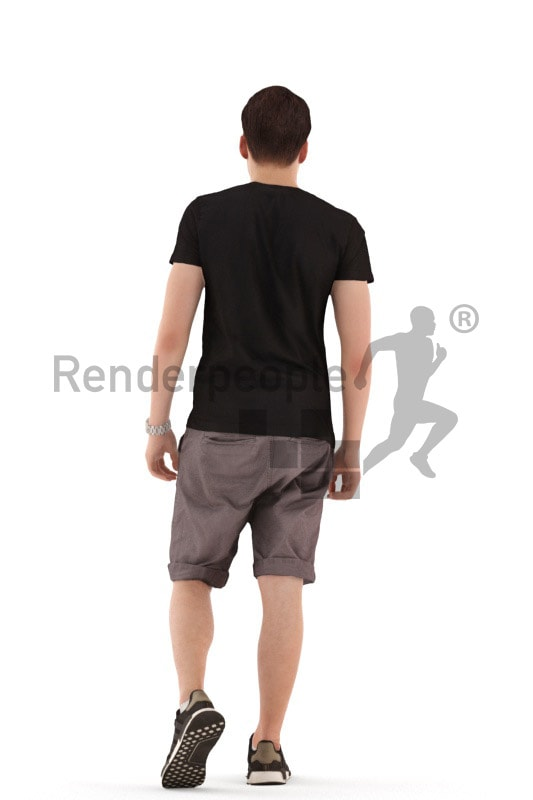 3d people teen, white 3d child walking