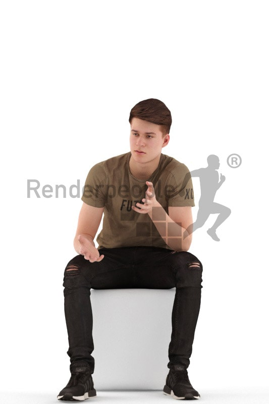 3d people teen, white 3d child sitting and discussing