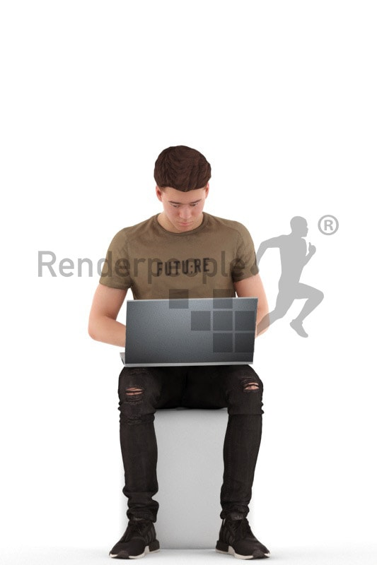 3d people teen, white 3d child sitting with a laptop and typing