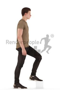 3d people teen, white 3d child walking upstairs
