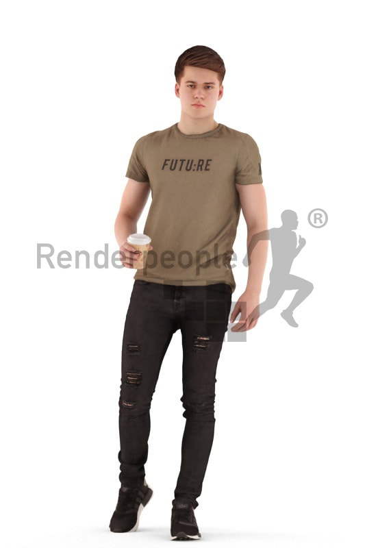 3d people teen, white 3d child walking drinking coffee