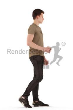 3d people teen, white 3d child walking drinking coffee