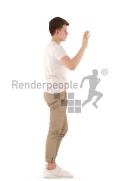 3d people teen, white 3d child waving