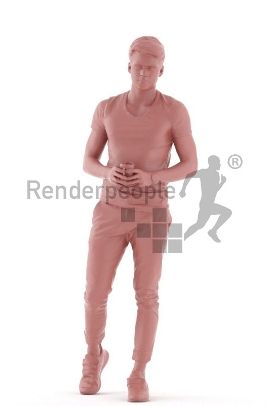 3d people teen, white 3d child holding a cup