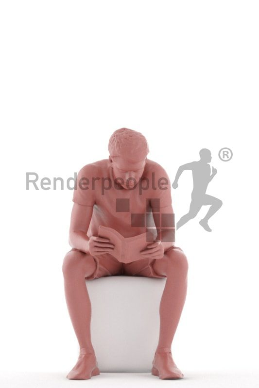 3d people teen, white 3d child sitting and reading