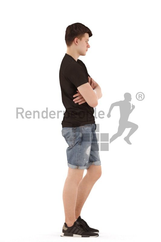 3d people teen, white 3d child standing and waiting