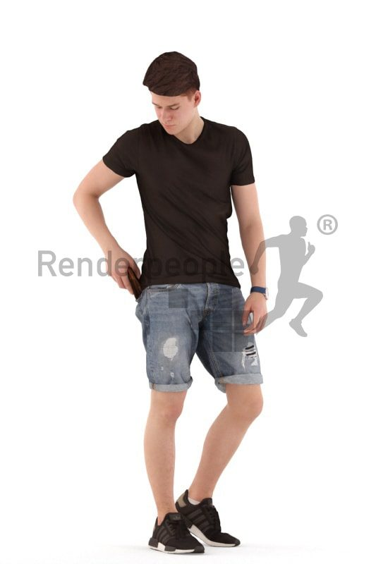3d people teen, white 3d child standing holding a purse