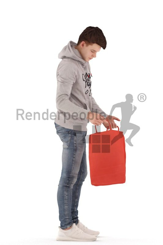 3d people teen, white 3d child standing and looking into shopping bag