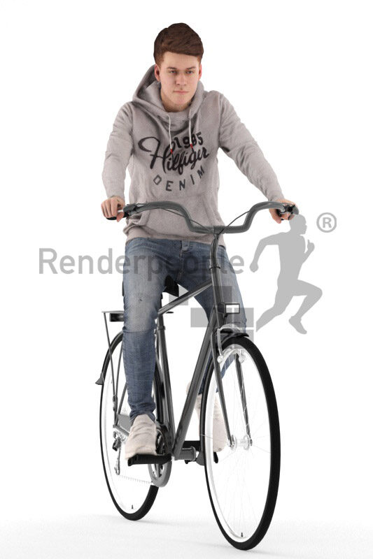 Scanned human 3D model by Renderpeople – european teenager in casual hoodie, riding on the bike