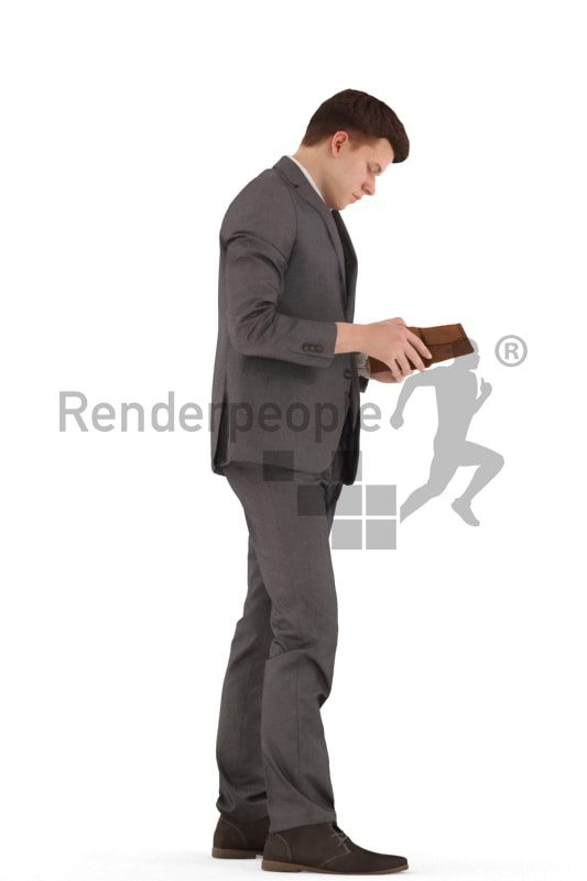 3d people business, white 3d teenager standing and looking into purse