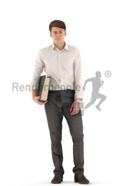 3d people business, white 3d teenager standing and holding folder