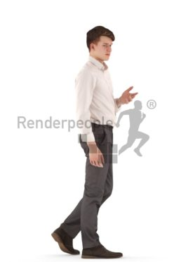 3d people business, white 3d teenager walking and talking