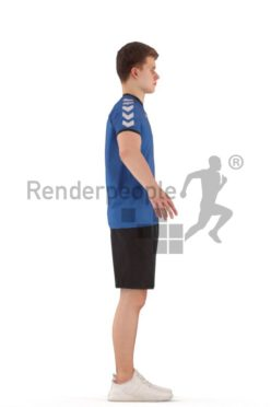 3d people sports, rigged teenager in A Pose
