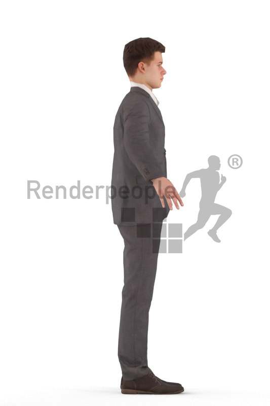 3d people business, rigged kid in A Pose