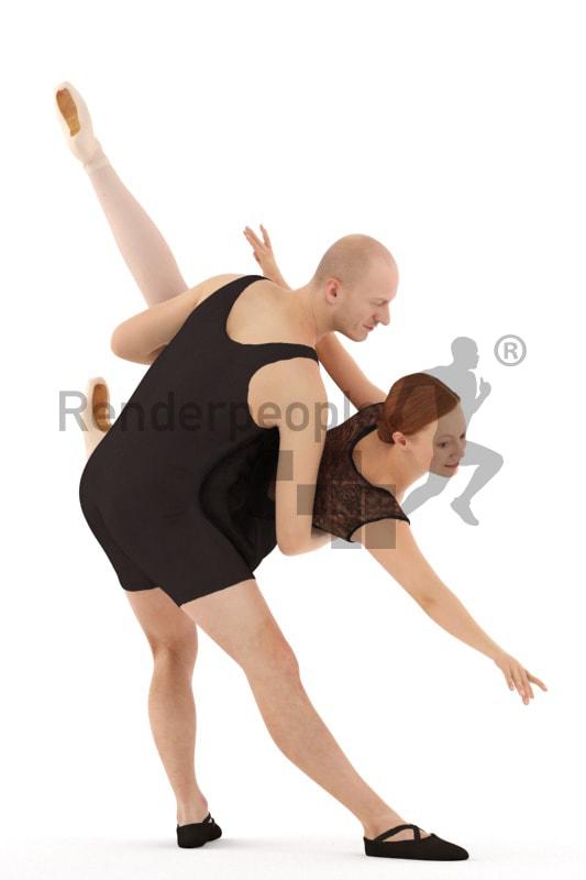 3d people sports, white 3d couple doing ballet